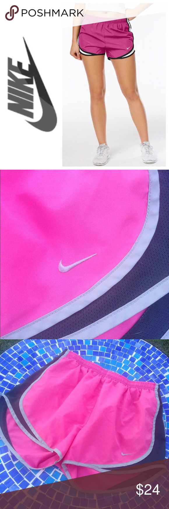 Nike Tempo running shorts in pink These incredible shorts by Nike were crafted for style & function!  Made from incredibly comfy material with mesh-insets to keep you dry & cool, as well!  Perfect for every activity & exercise!  Retail at $35 & available in pink/charcoal/grey.  Size Medium.  No trades please. Nike Shorts