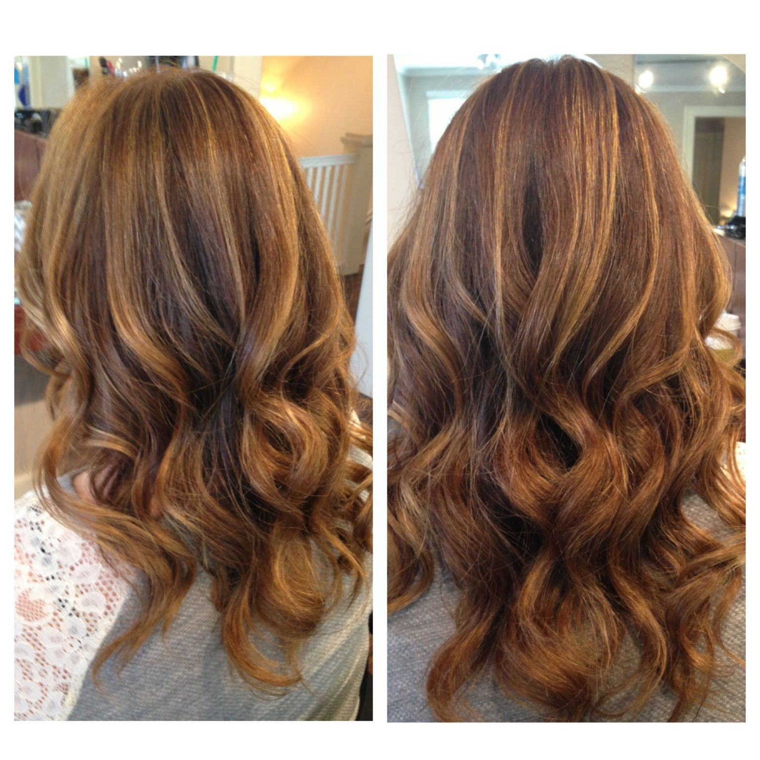 Golden Copper And Golden Blonde Highlights All With Balayage Throughout A Natural Brunette F Colored Hair Tips Balayage Hair Blonde Medium Balayage Hair Copper