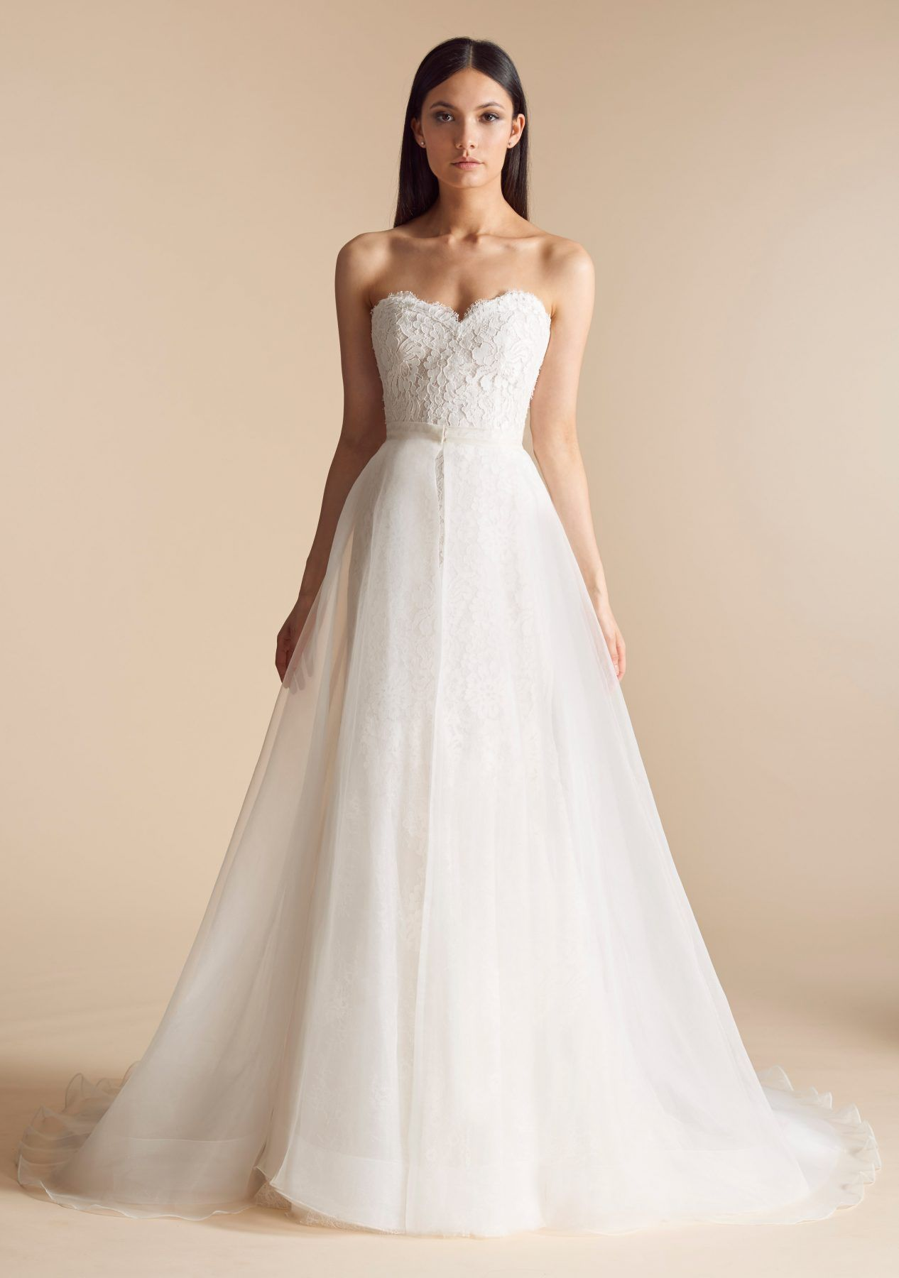 Sweetheart neck lace bodice tulle overskirt fit and flare wedding