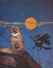 vintage look HALLOWEEN print, OWL WITCH FULL MOON