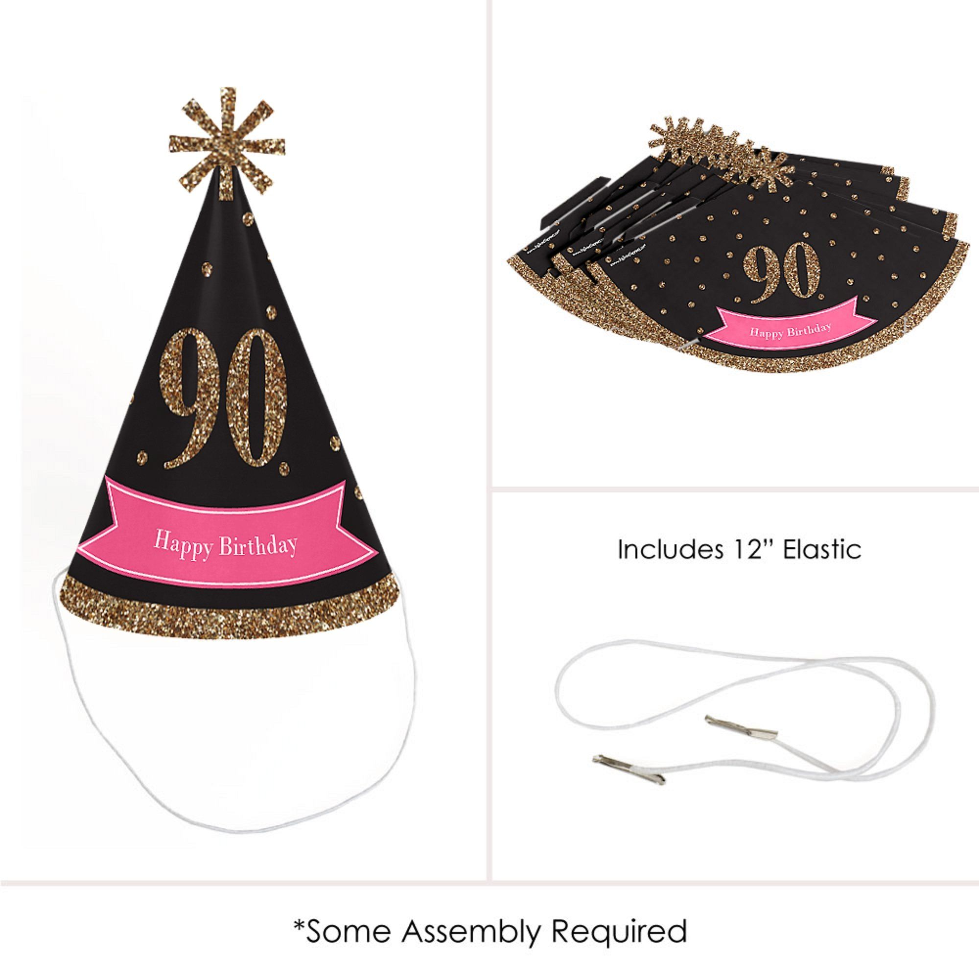 Chic 90th Birthday Pink Black And Gold Cone Happy Party Hats For Kids Adults Set Of 8 Standard Size More Information Visit Image Link