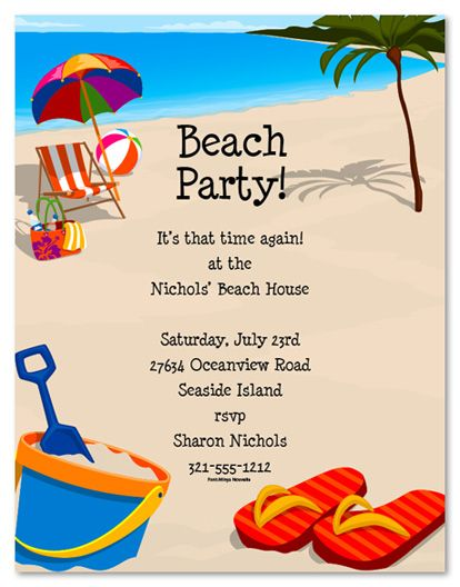 Beach Party Invitation Templates Free – Beach Themed Party Invitations