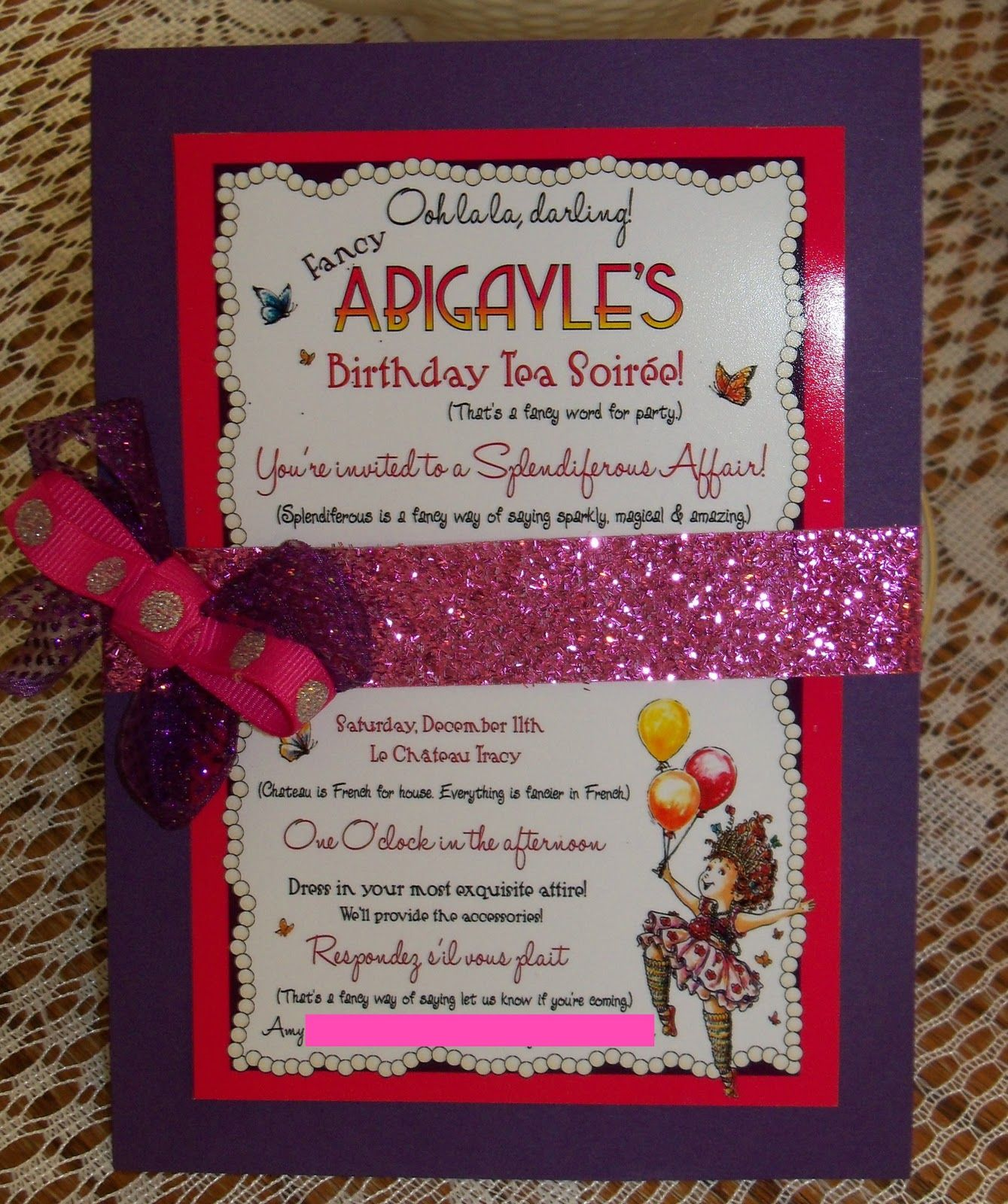 Fancy Nancy Party invite | Birthday Party Ideas | Pinterest ...