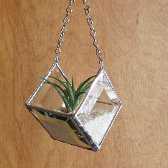 Stained Glass Beveled Diamond Shaped Hanging Planter For
