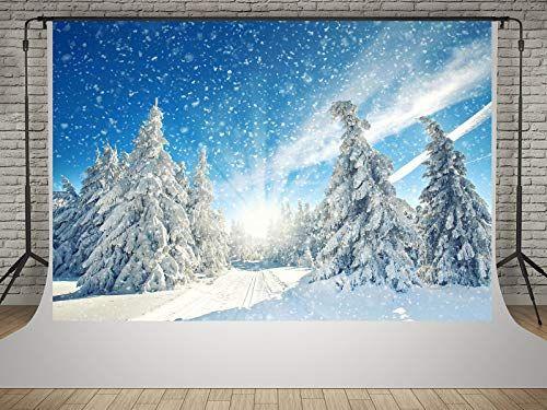 GoHeBe 5x7ft Snow Backdrop Beautiful Snow Tree Log Cabin Photography Backdrop Photography Background Interior Decoration Wallpaper LYK039