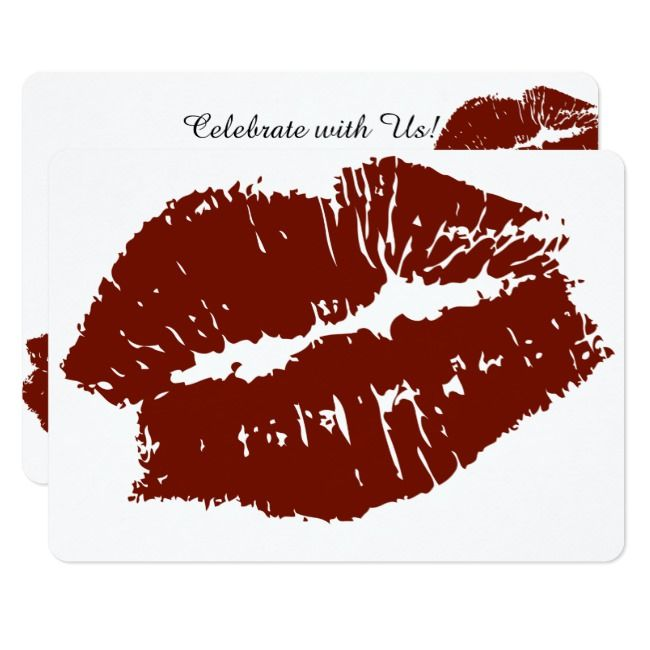 Red Lips Kiss Invitation Zazzle Com Red Lips Lips Red Crafts