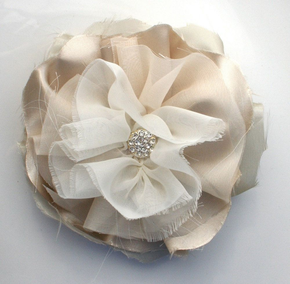 Bridal Sash Pin in Champagne and Ivory by DinkybirdBoutique
