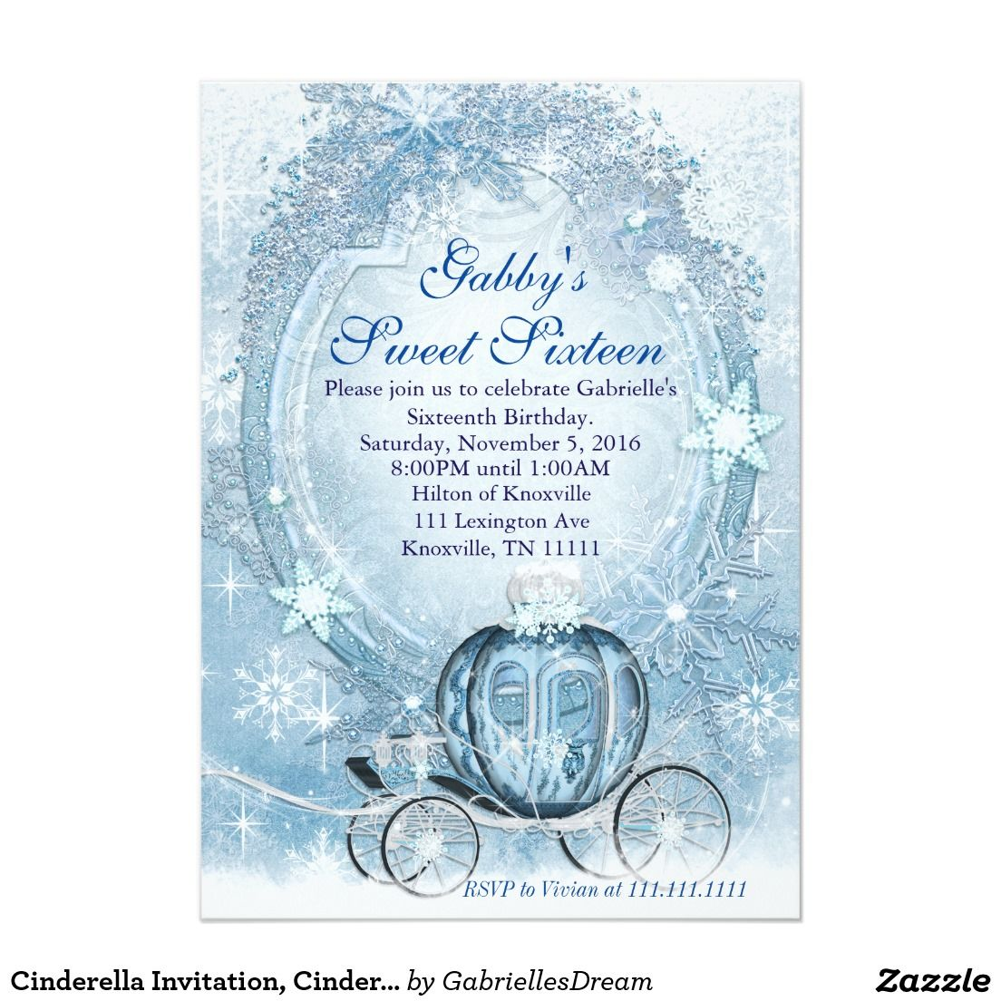 Cinderella Invitation, Cinderella Sweet Sixteen Card | Sweet ...