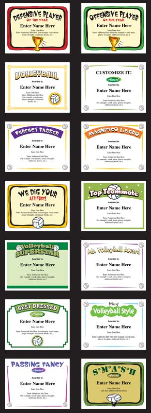 Volleyball Certificate Templates Printable Customizable Awards Volleyball Team Gifts Basketball Awards Youth Volleyball