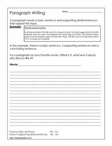 Paragraph Writing Worksheet. This website has some good ...