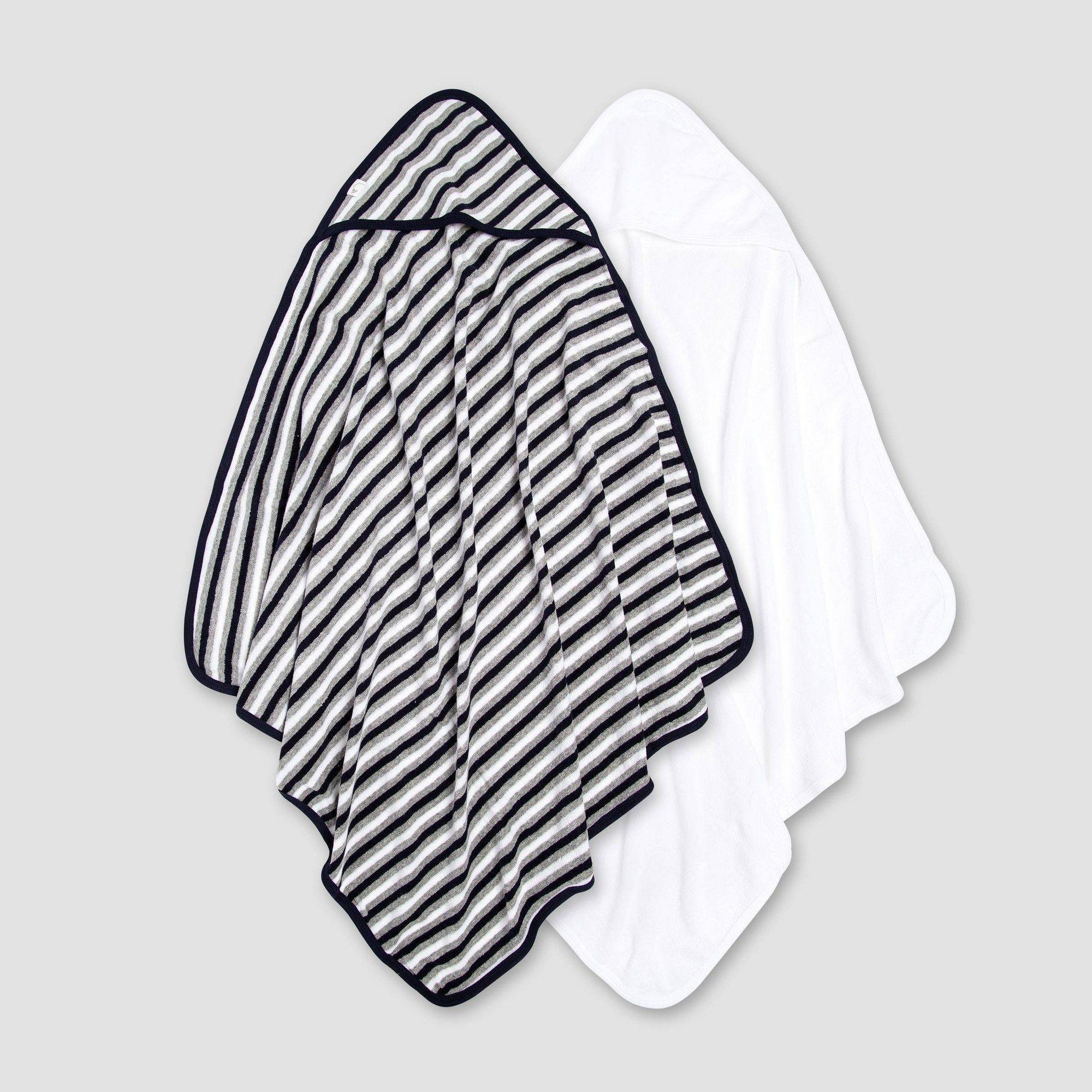 Burt S Bees Baby Baby Boys 2pk Hooded Bath Towel White Navy