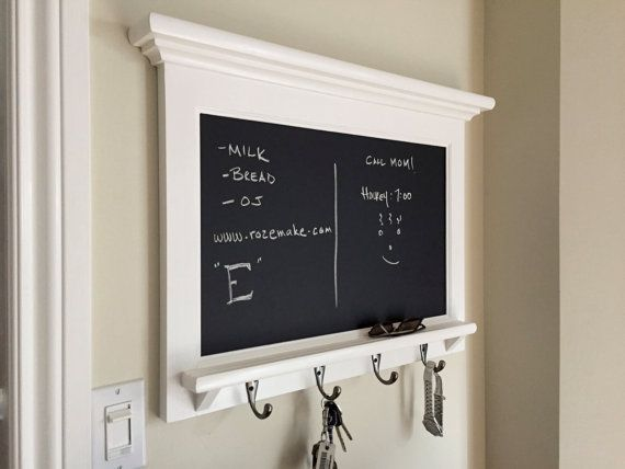 Please Note This Chalkboard Organizer With Shelf Wood Framed
