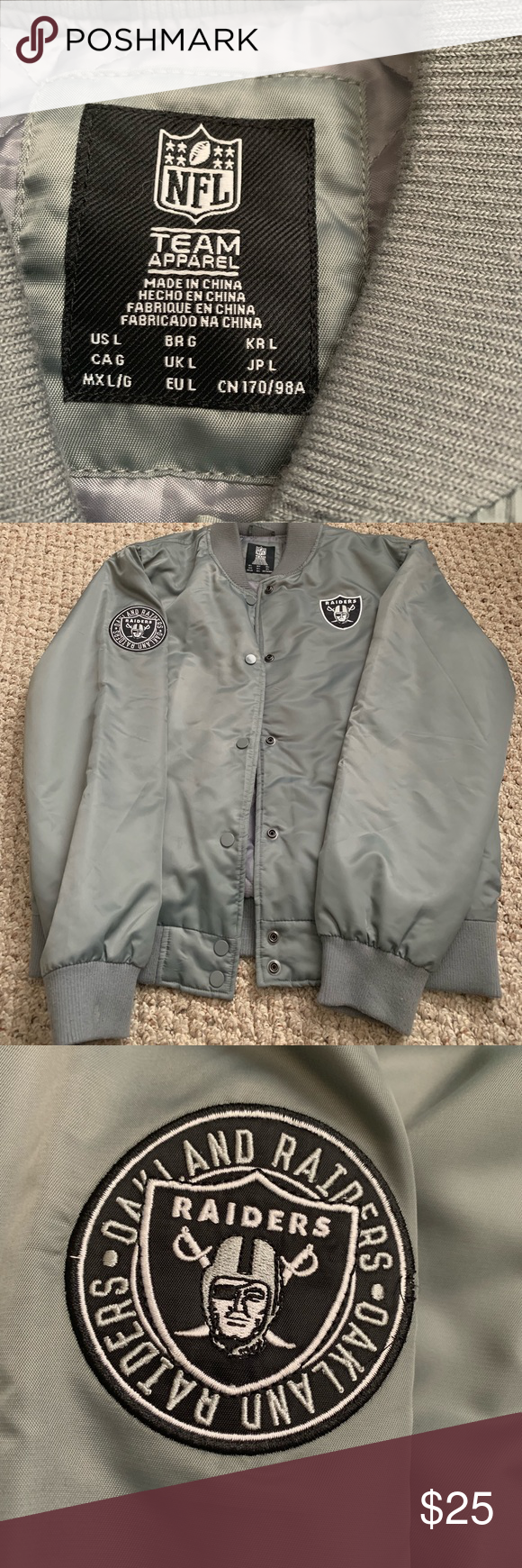 new arrival 212fa f0f00 Gray Raiders Bomber Jacket -forever 21 -size large -button ...
