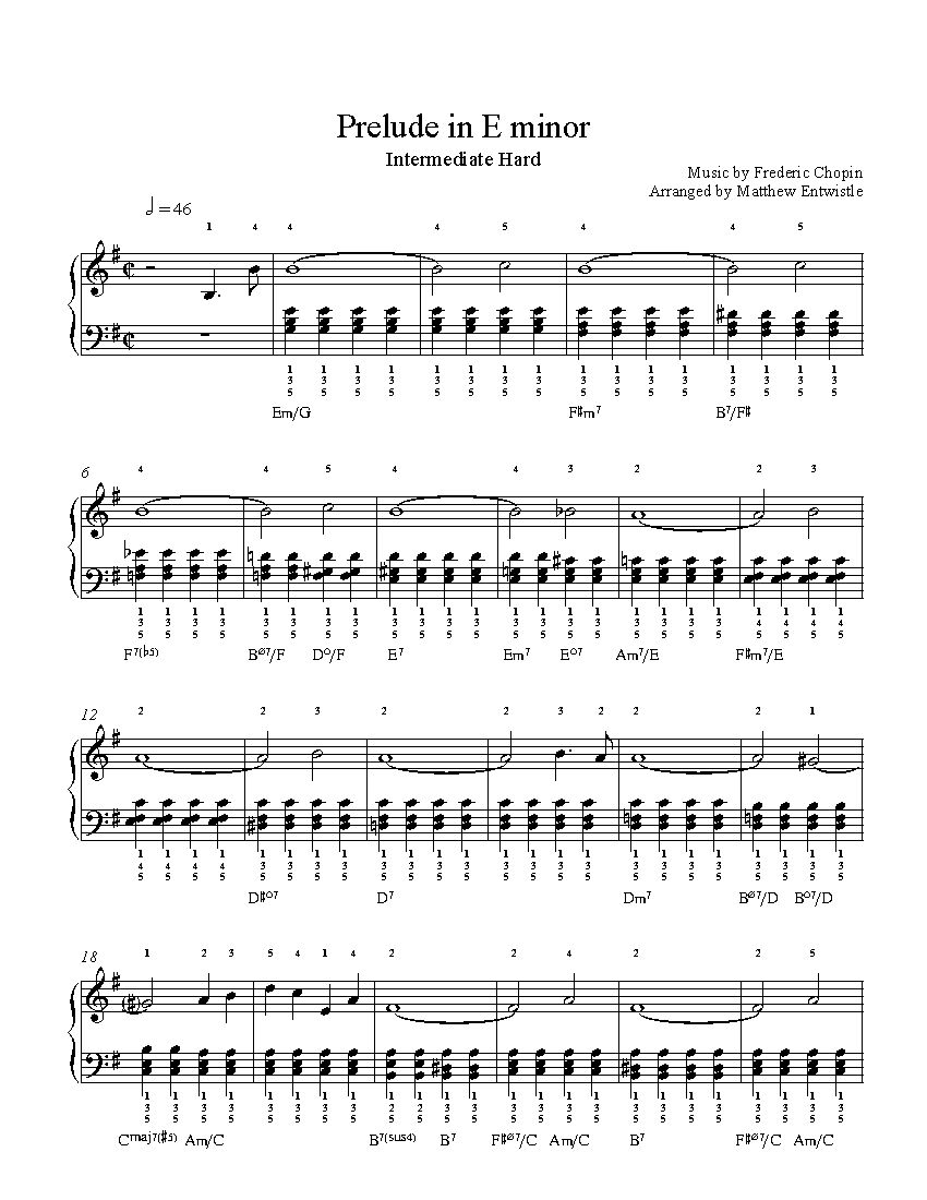 Prelude in E minor by Frederic Chopin Piano Sheet Music
