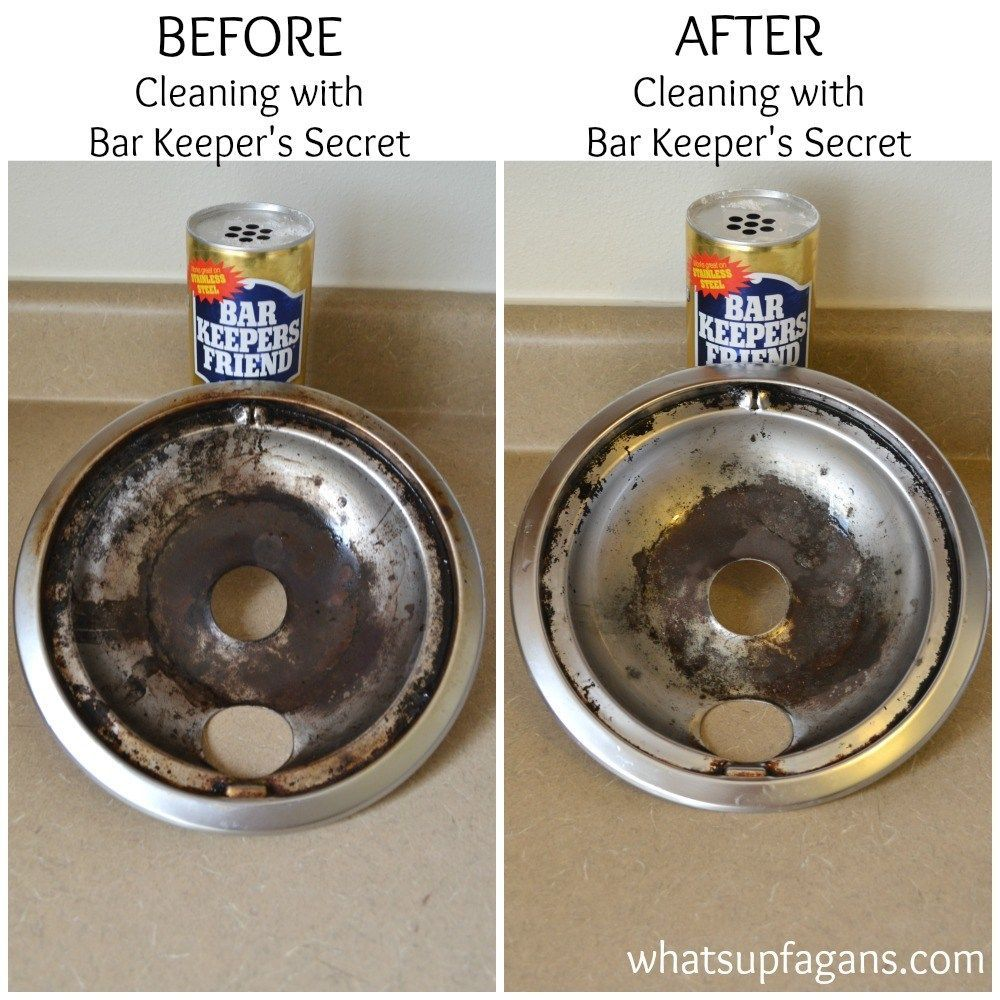 Before and After: Cleaning stove burner drip pans with Bar ...