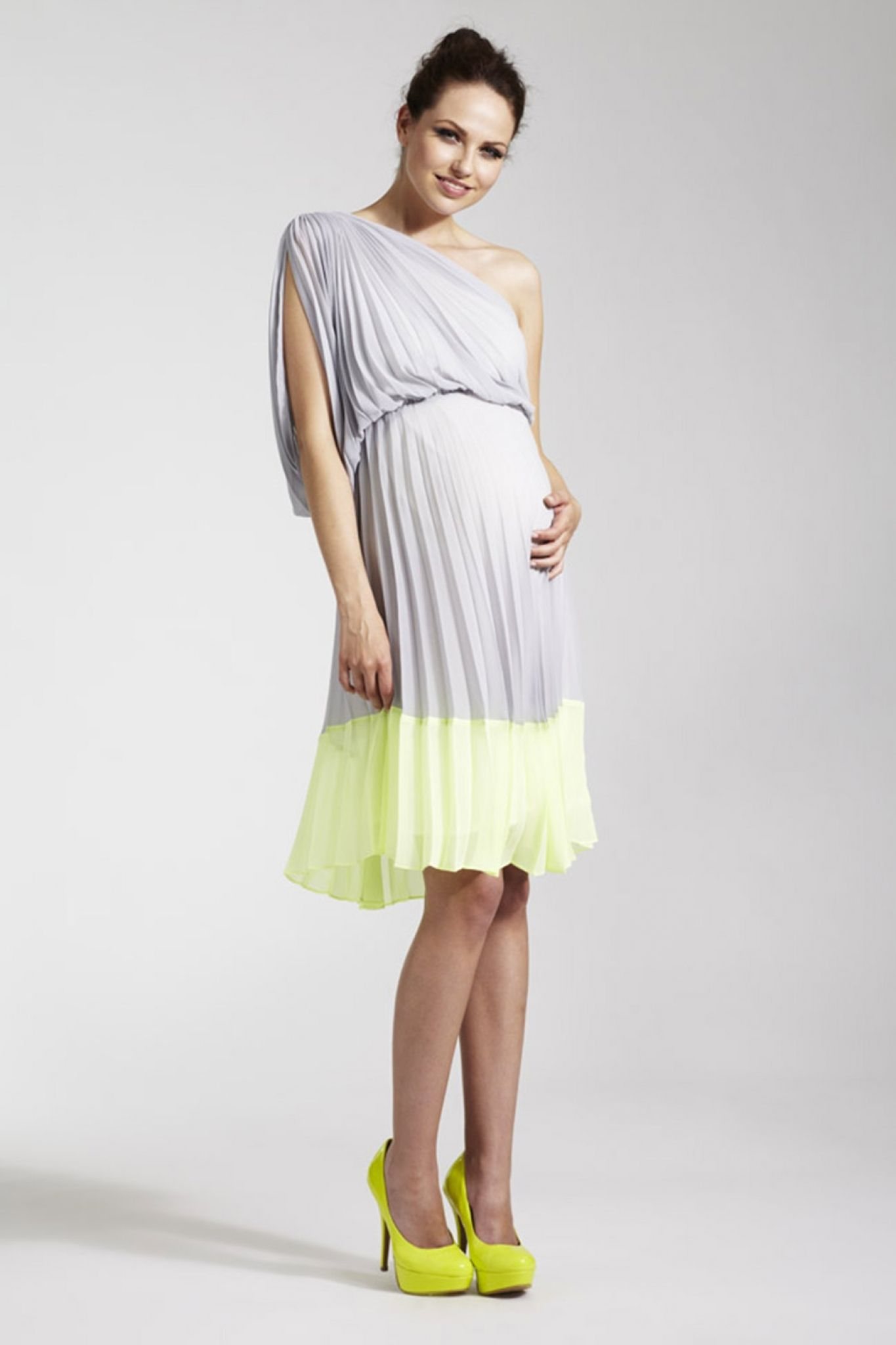 Rock A Bye Rosie Pollyanna Grey Lime One Shouldered Pleated Maternity Dress