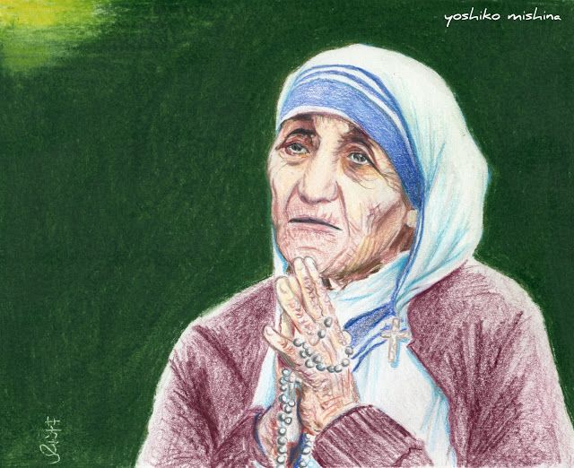 Yoshiko Mishina -Paintings: MOTHER TERESA colored pencil