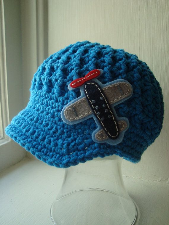 Crochet Newsboy Hat with Aviator Airplane- different color and logo 4 girl