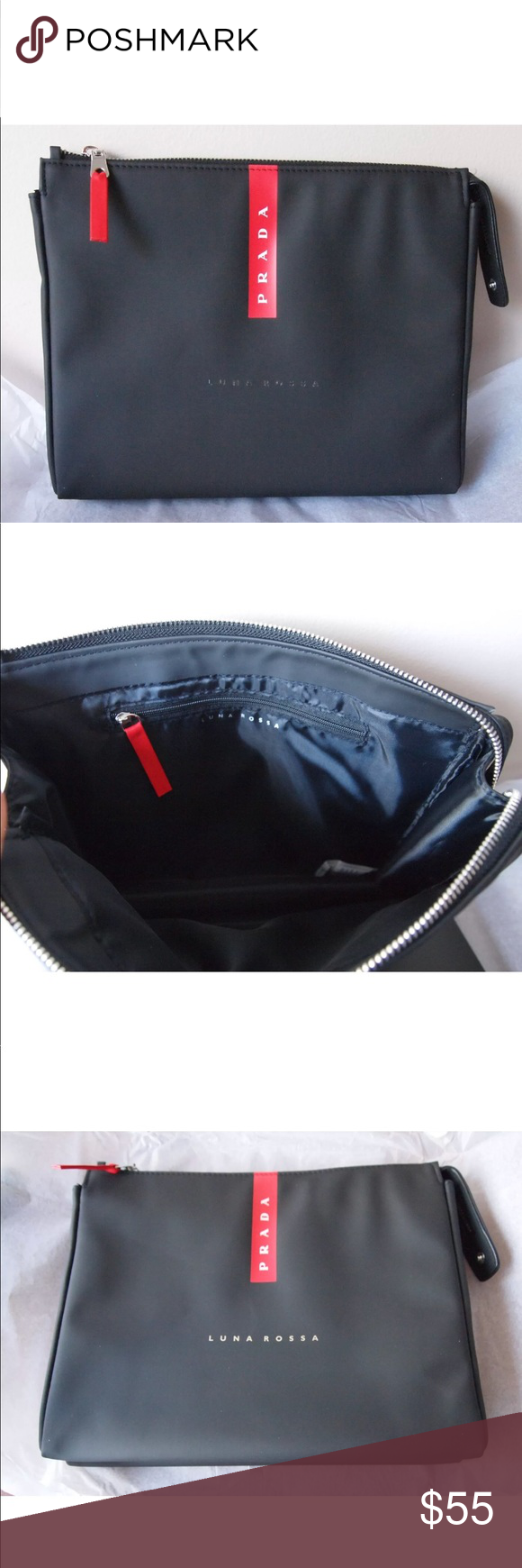 8b8de523a647f0 PRADA Luna Rossa Carbon Pouch Travel Cosmetic Bag PRADA Luna Rossa Carbon  Pouch Travel Cosmetic Bag black red large men friday Bags Cosmetic Bags &  Cases