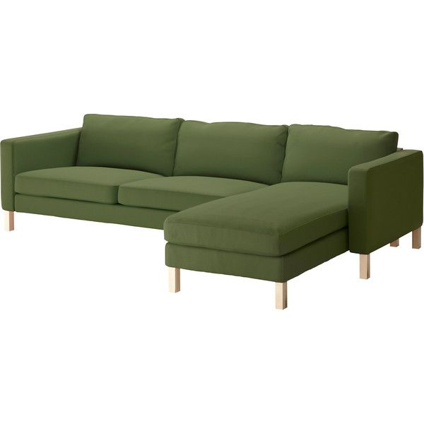 IKEA KARLSTAD Sofa And Chaise Lounge, Sivik Green ($799) Found On Polyvore