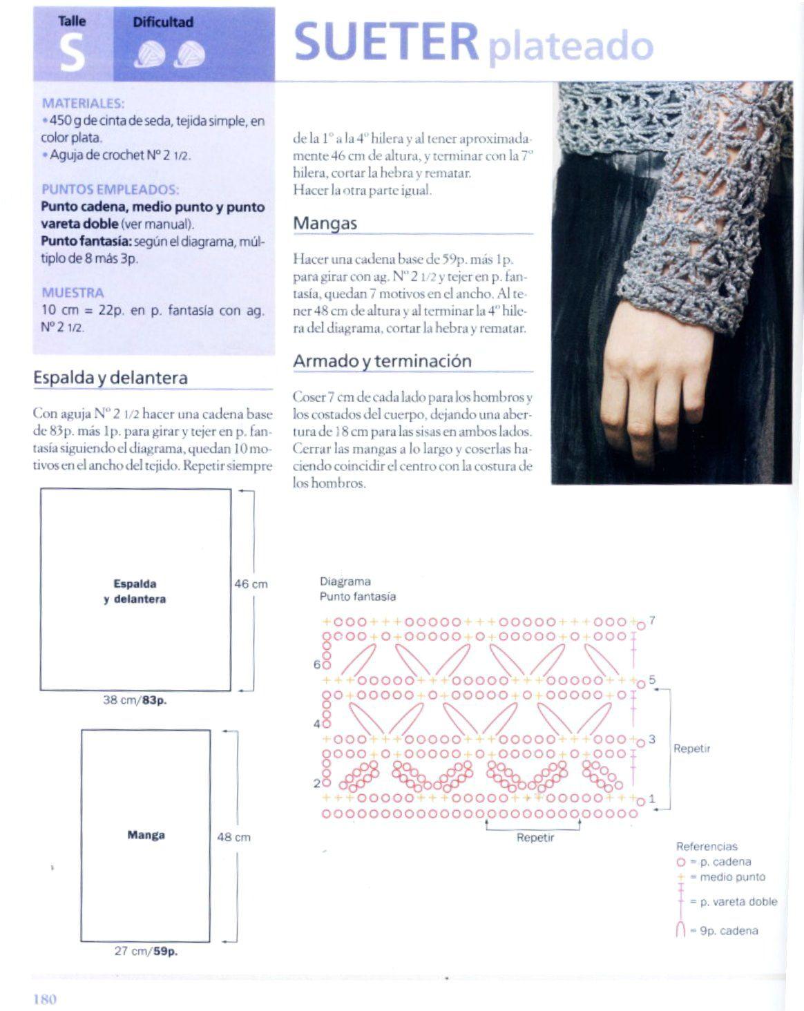 Jersey openwork silver fantasia point | Knit/Crochets Tops ...
