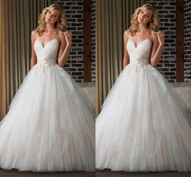 Wholesale A-Line Wedding Dresses - Buy Fashionable Shining Glamorous Sexy A-Line Spaghetti Backless Pleat Ruffles Chapel Train Lace Applique with Belt Tulle Wedding Dresses, $124.59 | DHgate