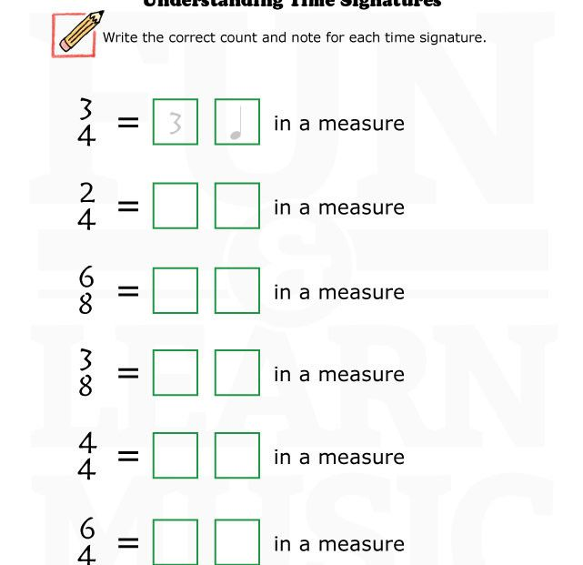Worksheet on basic understanding of time signature – Music Worksheets for Middle School