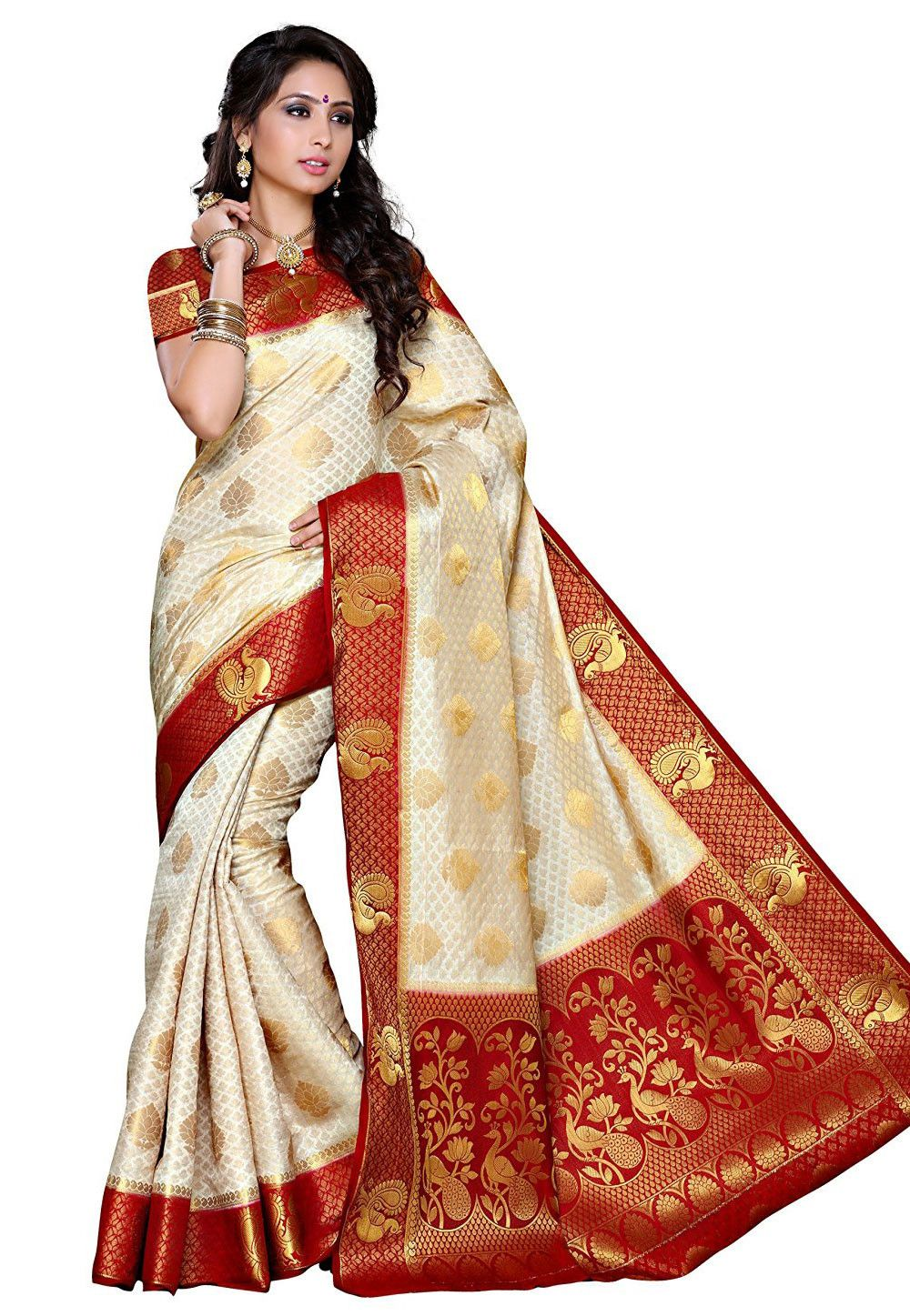 b4292f986e Buy Woven Tussar Silk Saree in White online,Item code: SEH1410, Occasion:  Wedding, Work: Traditional, Zari, Fabric: Art Silk, Gender: Women