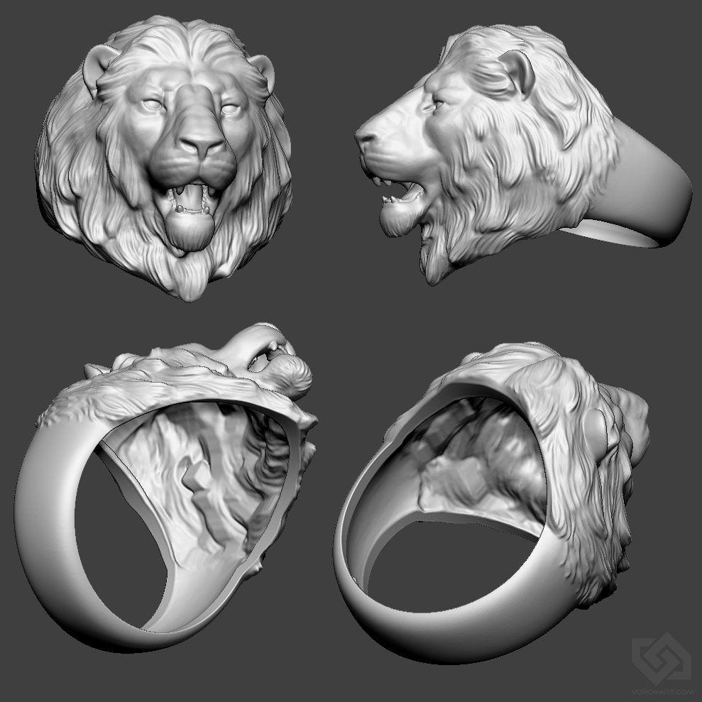 Lion ring. 3D model (STL, OBJ) Лев кольцо, Мужские