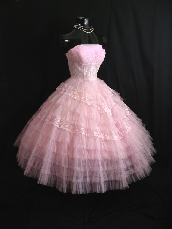 50sLayered Tulle Lace Prom DRESS