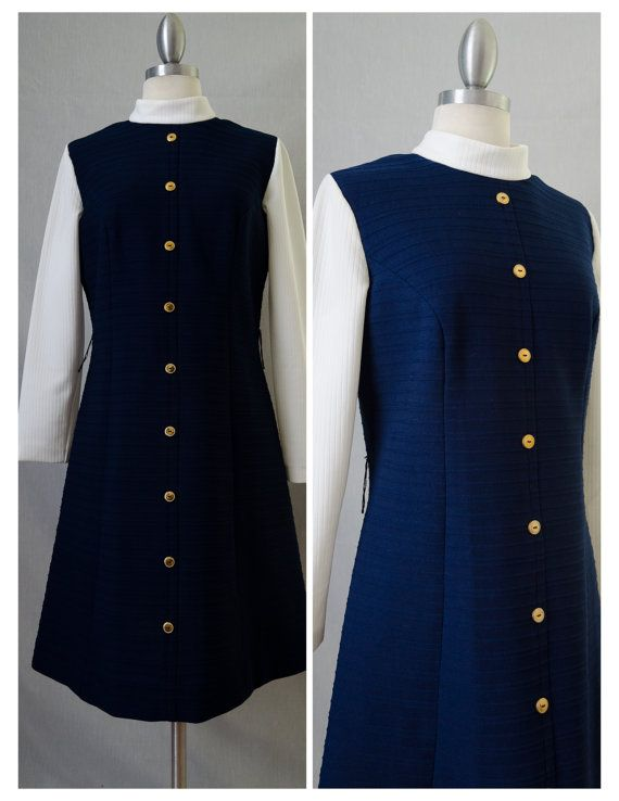 60s Verona Knits Vintage Mod Navy and White by RedLightVintageShop
