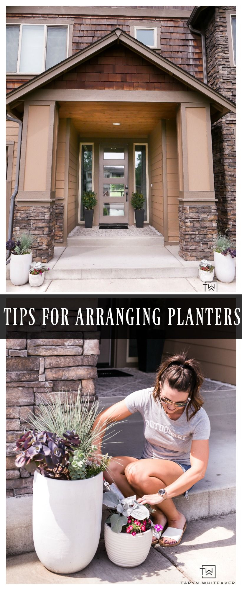 Tips For Arranging Planters is part of Front garden design, Urban garden design, Small garden design, Planters, Porch garden, Porch planters - It was finally time to update our planters for summer! I didn't have much of a plan going into this project this year, I just took a trip to the nursery and see what sparked some inspiration  Pretty much the way a lot of my projects happen  What can I say, I'm a visual person