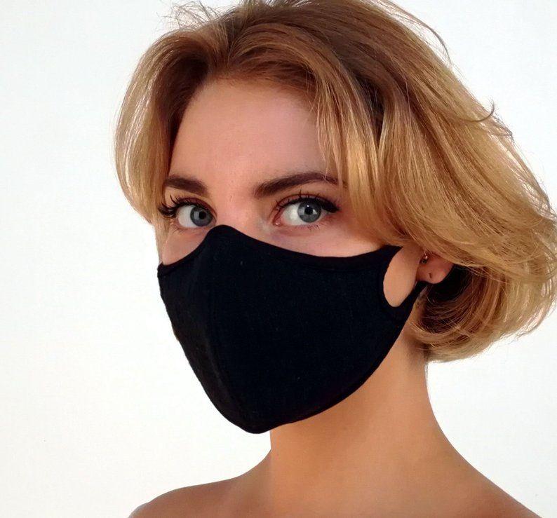 1X Women Men Cotton Face Masks Pattern Solid Black Mask Half Face Mouth Fad US