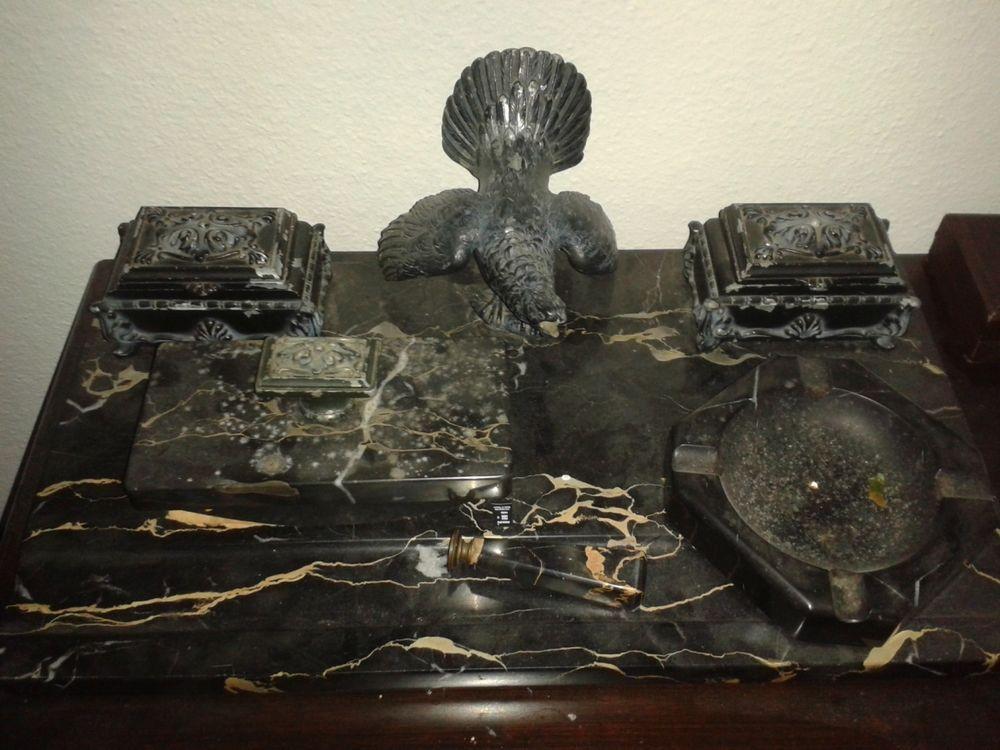 antike schreibtischgarnitur 6 teilig um 1900 schwarzer marmor bronze weg pinterest. Black Bedroom Furniture Sets. Home Design Ideas