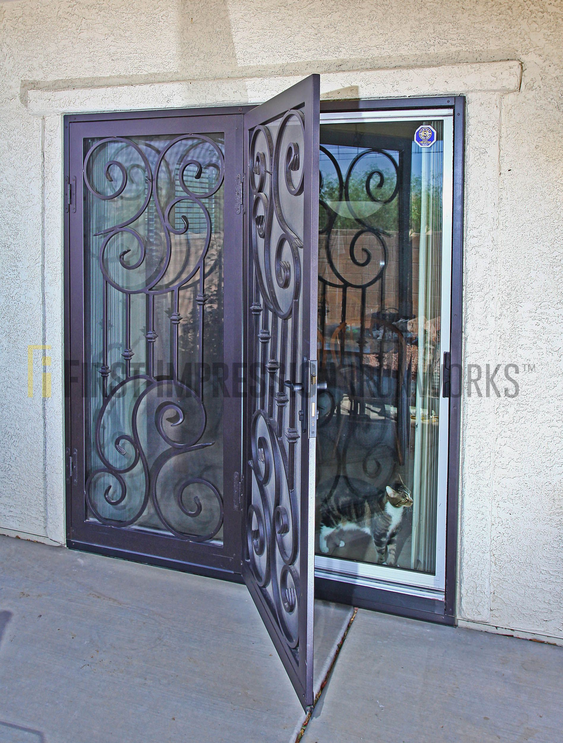 sliding to subway beveled wrought door storm cabinet for small iron screen tile shuttle lowes doggie doors