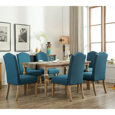 Roundhill Furniture Habitanian Solid Wood 7 Piece Dining Set Chair Finish Blue