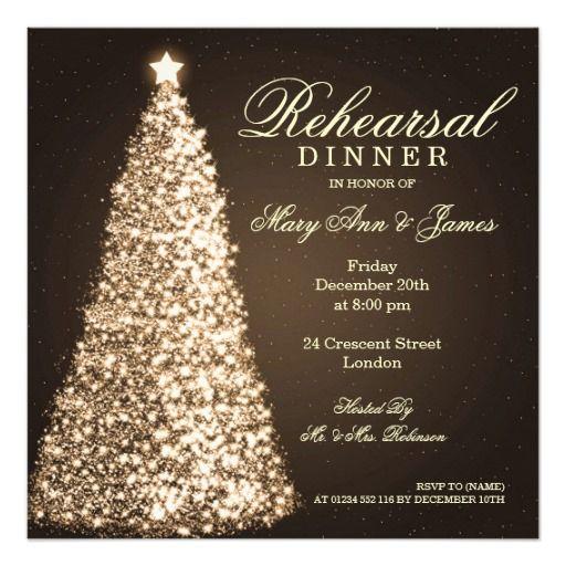 d994f14eeb31 Christmas Wedding Rehearsal Dinner Gold Announcements