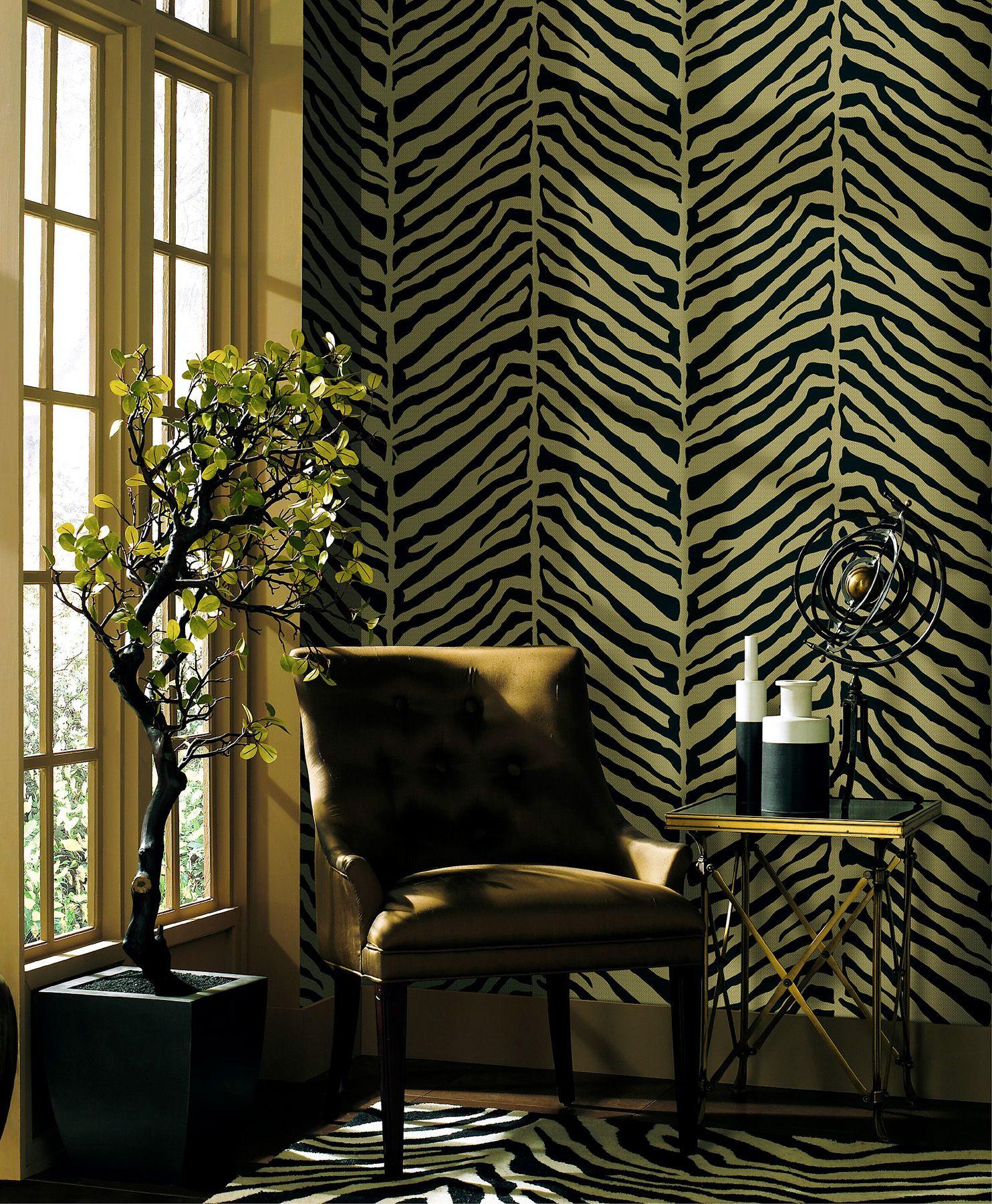 zebra print living room wallpaper feature wall | Zebra ...
