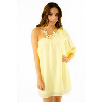 Yellow One Shoulder Dress, SO Cute!