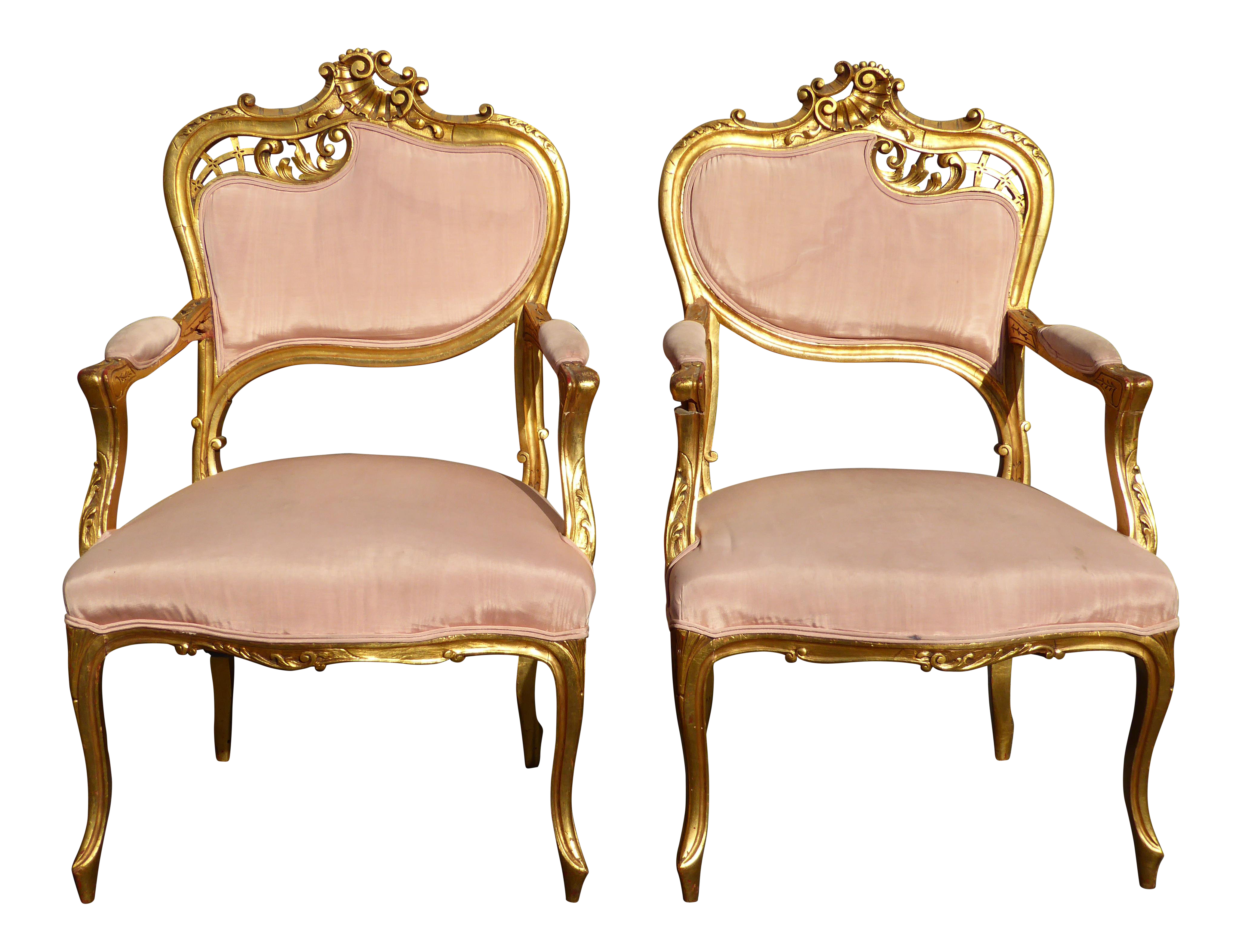 Vintage French Rococo Louis XV Style Giltwood Accent Chairs A Pair