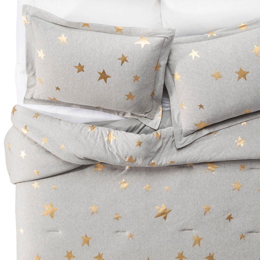 3pc Full/Queen Jersey Stars Comforter Set Gray & Gold - Pillowfort™