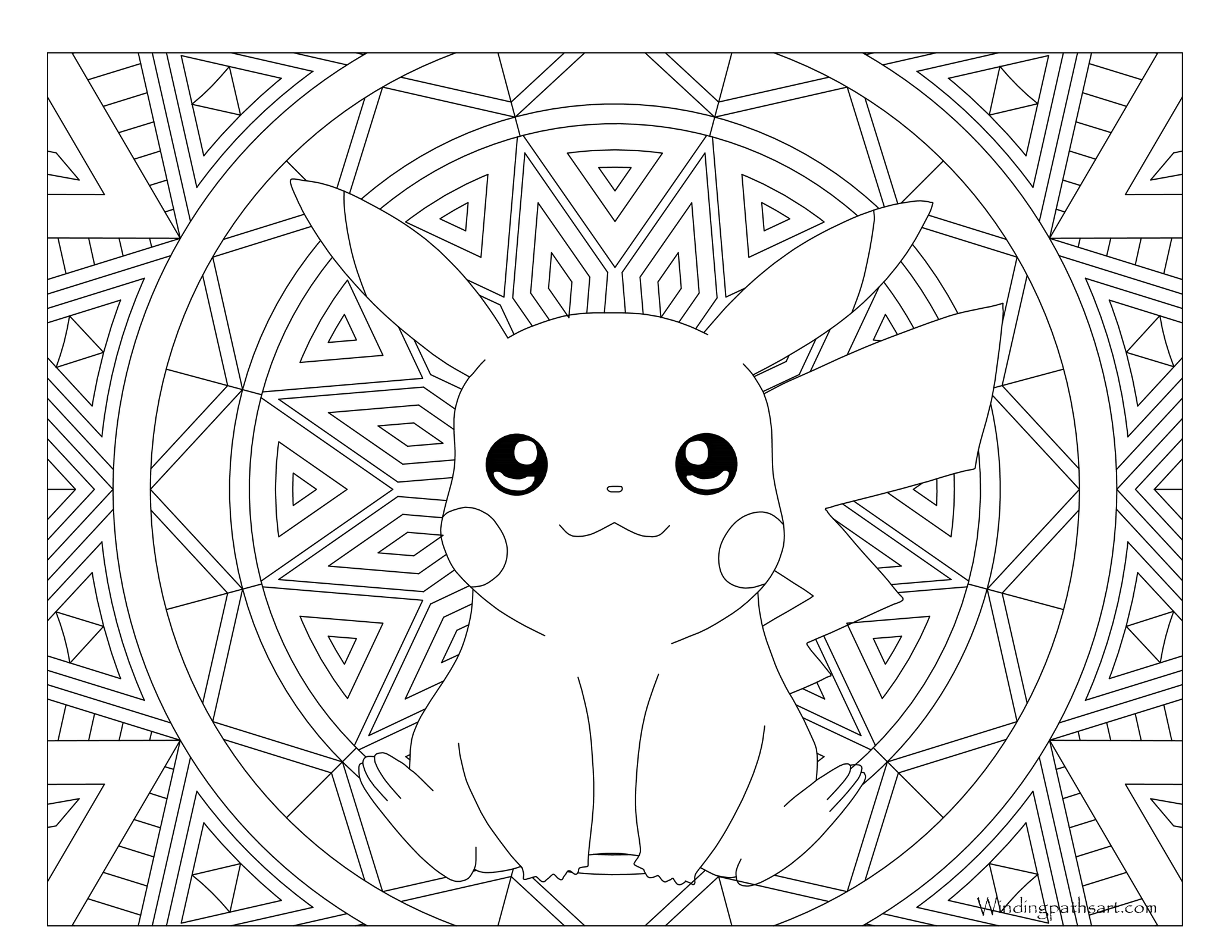 Pikachu coloring pages free printable - Free Printable Adult Pokemon Coloring Page Pikachu
