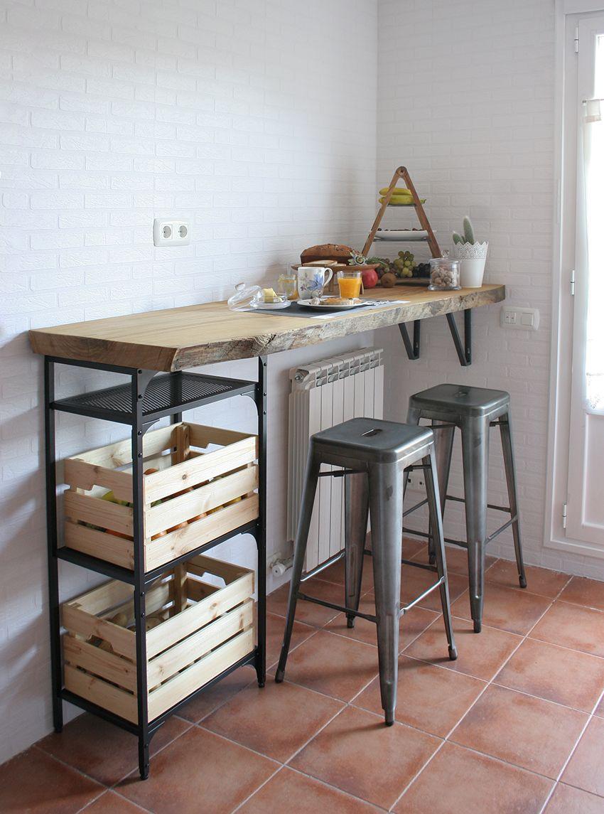 DIY Barra de madera raw para nuestra cocina | Decoración del ...
