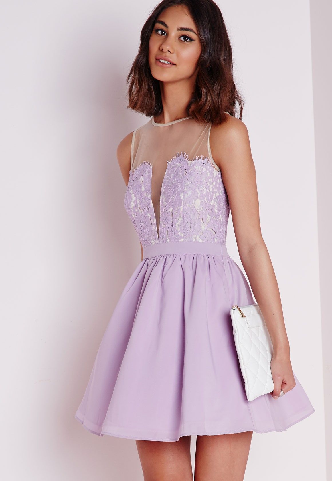 Wedding Lilac Dress lace puffball skater dress lilac dresses missguided
