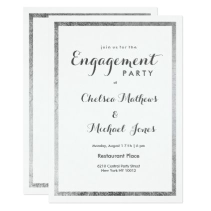 Simple Elegant White Faux Silver Modern Engagement Card Wedding