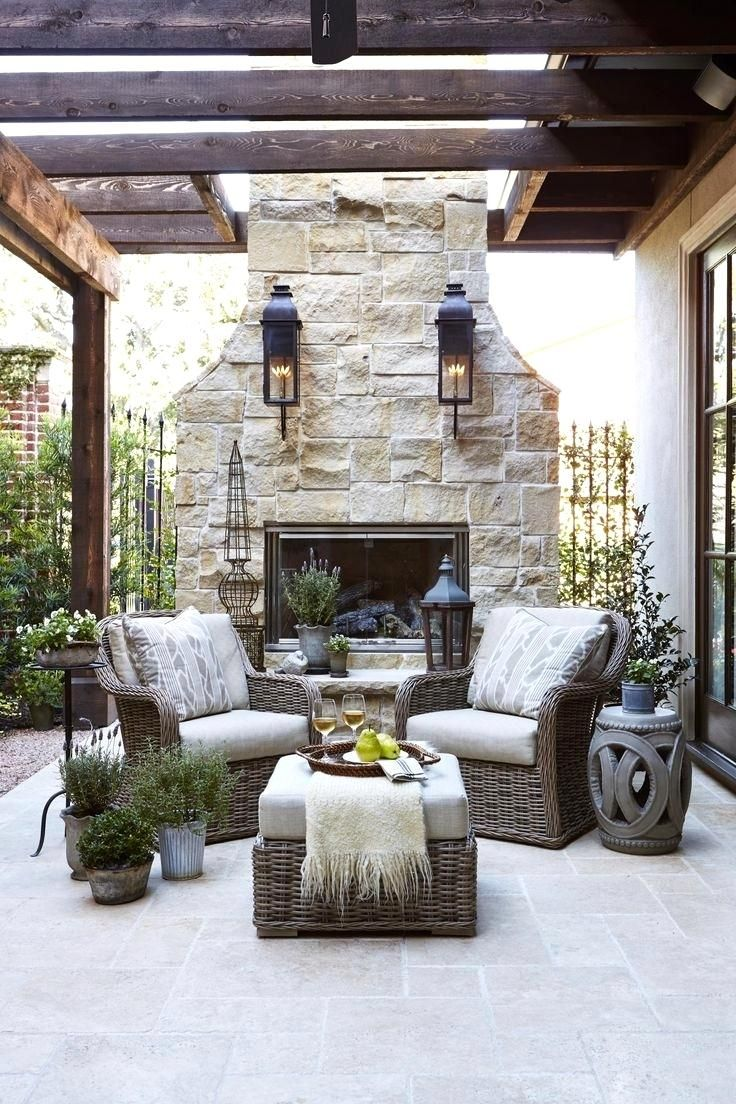 Marvelous Rock Outdoor Patio Chimney Decor Limestone Fireplace