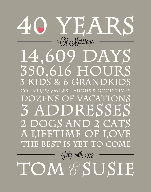 Personalized Anniversary Printable Anniversary Gift Etsy 40th Anniversary Ideas 40th Anniversary Gifts 40th Wedding Anniversary