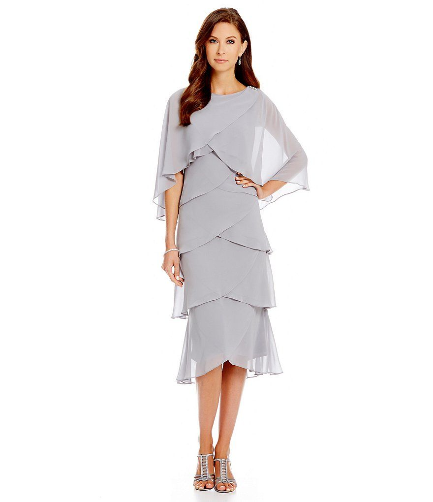 Sl Fashions tiered chiffon capelet dress