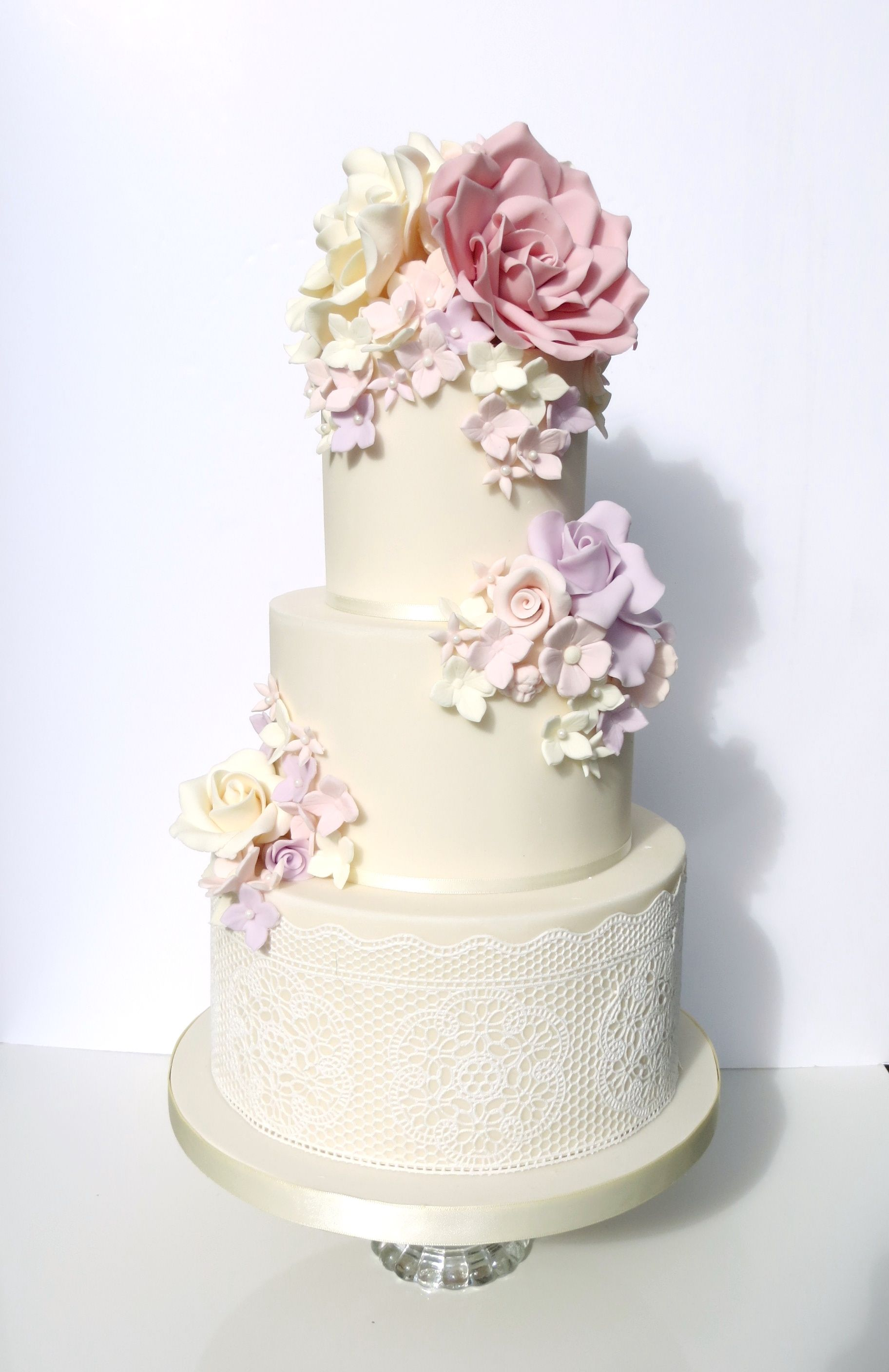 Vintage Pastel Rose Wedding Cake with Cake Lace and Petal Cascade ...