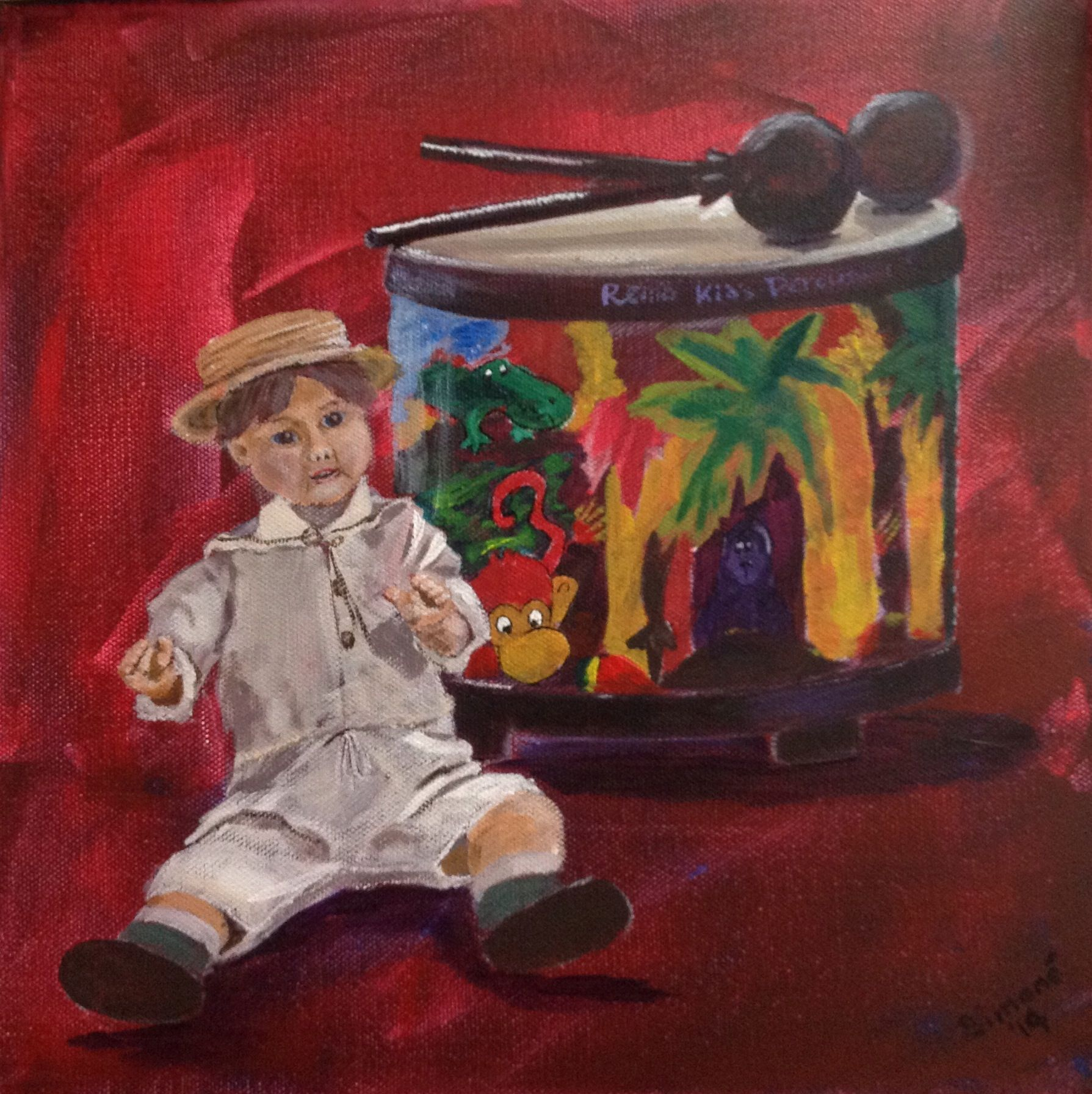 Doll and drum, still life